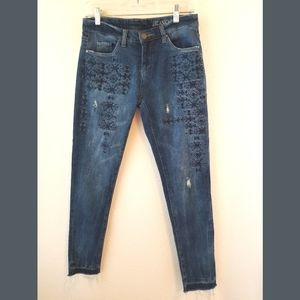 Blank NYC Distressed Quilted Skinny Jeans Sz 26